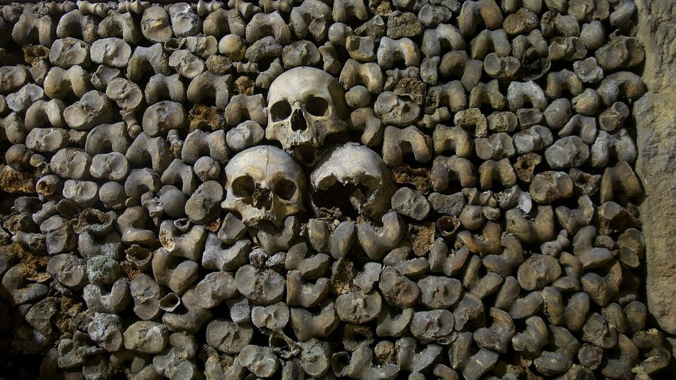 In Paris's catacombs, bodies were stacked on top of each other to use space as efficiently as possible (Credit: Alamy)