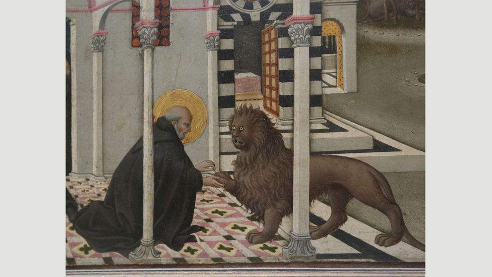 Lions often appear as faithful companions in the paintings of Saint Jerome – such as this one, painted by Sano di Pietro in the 15th Century (Credit: Alamy)