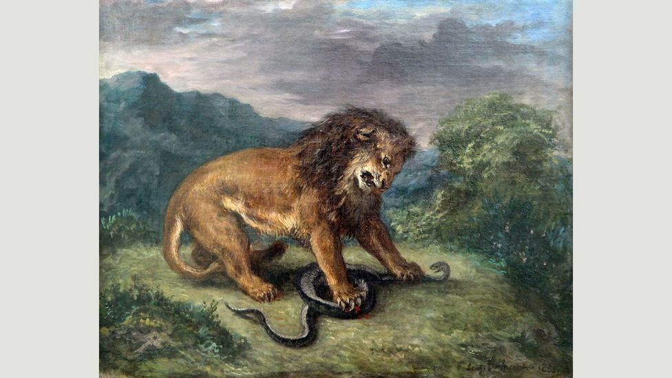 Lions are often painted in dramatic scenarios, such as in Delacroix's The Lion and the Snake, 1856 (Credit: Alamy)