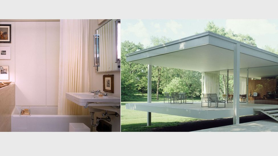 Influential mid-Century modern houses like Mies van der Rohe's Farnsworth House (pictured, Plano, Illinois, 1951) still featured fairly modest bathrooms (Credit: Alamy)