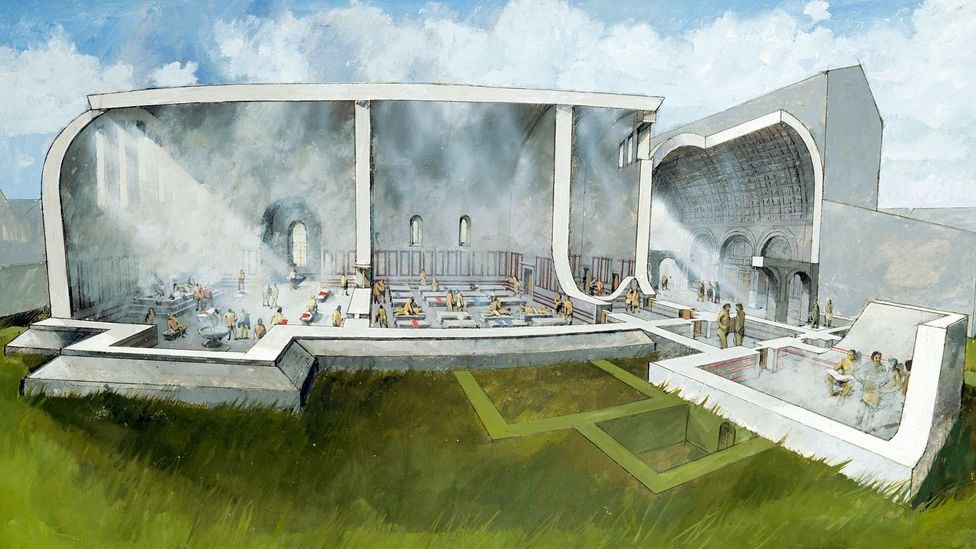 A reconstruction drawing of a Roman bath house - these 'thermae' were important places for hygiene and for socialising (Credit: English Heritage/Heritage Images/Getty Images)