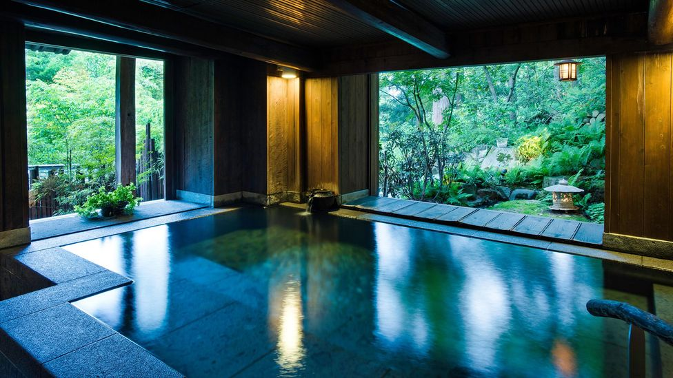 Popular modern bathrooms, with their minimalism and connection to nature, recreate purist and age-old bathing rituals practiced in Japan (Credit: Alamy)