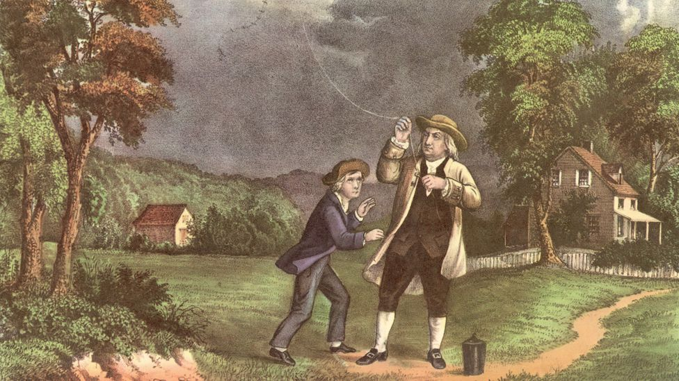 Inventor and scientist Benjamin Franklin carried out experiments to uncover the unknown facts about the nature of lightning and electricity (Credit: Getty Images)
