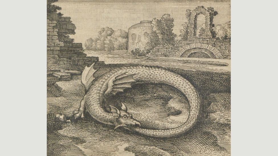 The ouroboros appears in the classic alchemical study, Atalanta Fugiens (1617), by the physician to Emperor Rudolf II, Michael Maier (Credit: Staatsbibliothek zu Berlin)