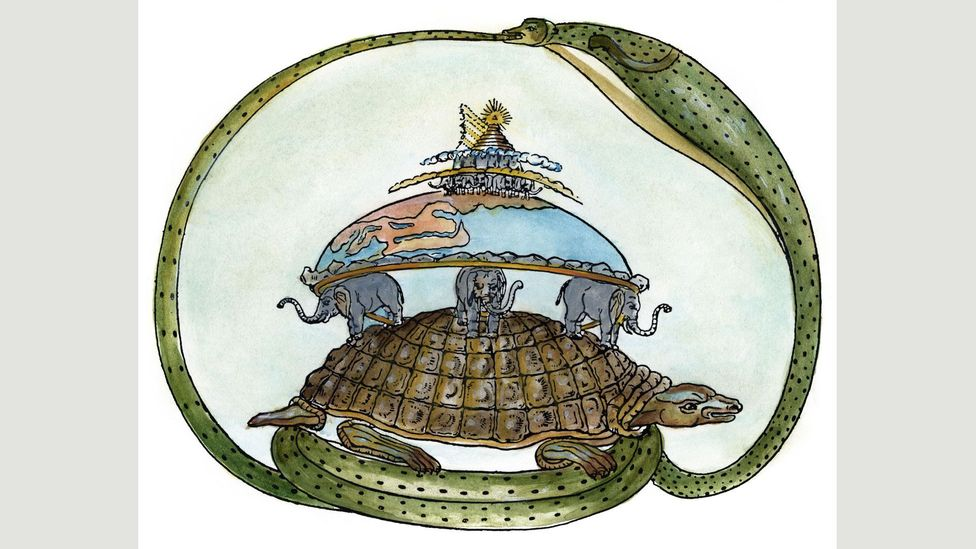 The ouroboros is part of Hindu iconography, as in this drawing of a tortoise supporting elephants upon which the Earth rests, enclosed by the serpent, Asootee (Credit: Alamy)