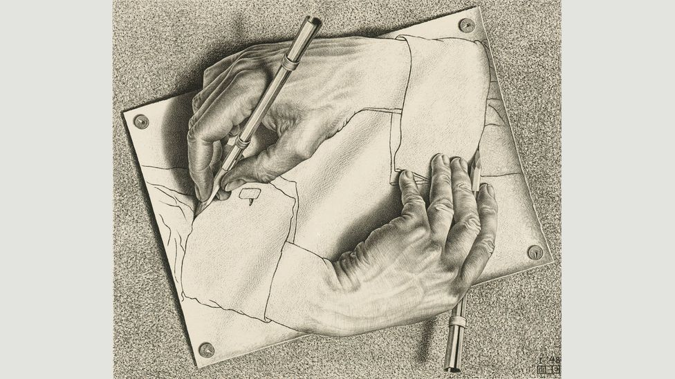 Works by MC Escher, such as Drawing Hands (1948), contain visual paradoxes, creating spirals that have no end and no beginning (Credit: 2017 The MC Escher Company)