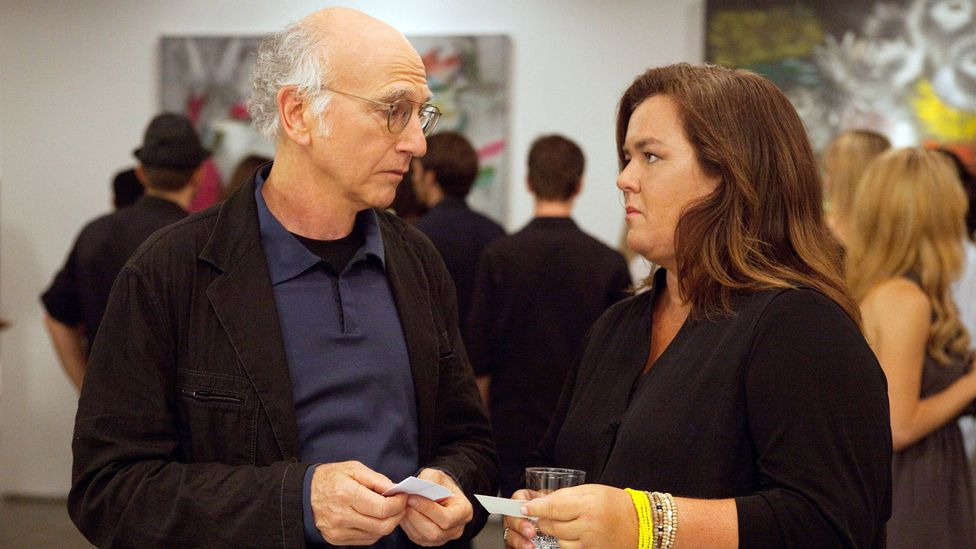 Curb Your Enthusiasm has featured many guest stars playing themselves, such as Rosie O'Donnell, who competed with Larry for the affections of a bisexual woman (Credit: HBO)