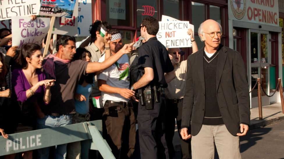 One of the most talked about Curb Your Enthusiasm episodes was Palestinian Chicken from 2011, which was an allegory for the Israeli-Palestinian conflict (Credit: HBO)