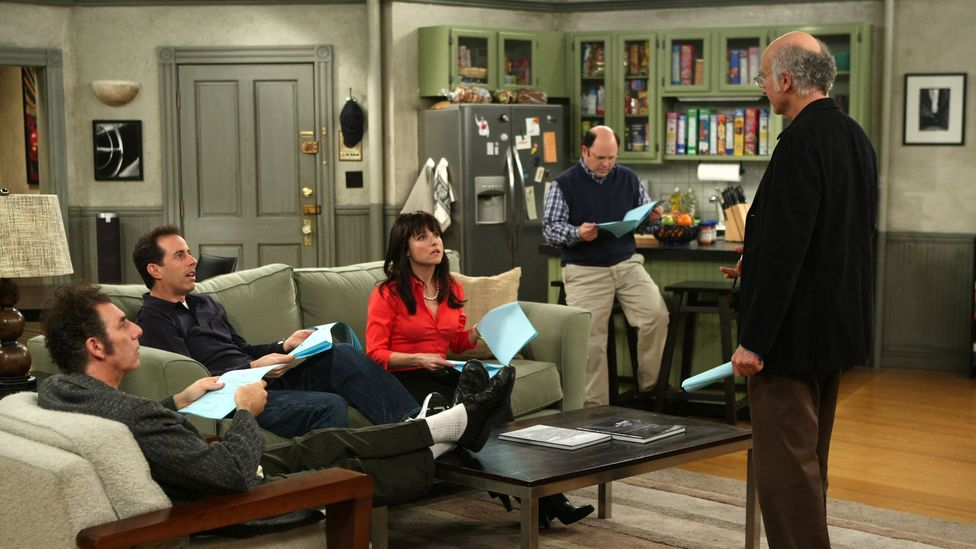 Seinfeld, for which Larry David was a creative mastermind, anticipated the style of Curb Your Enthusiasm – a Seinfeld reunion occurred in Curb's seventh season (Credit: HBO)