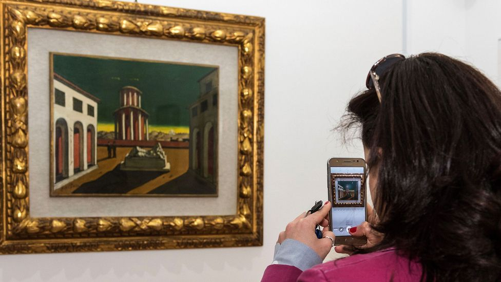 Giorgio de Chirico's perspective-distorting collage-style paintings were a great influence on Magritte (Credit: Getty Images)
