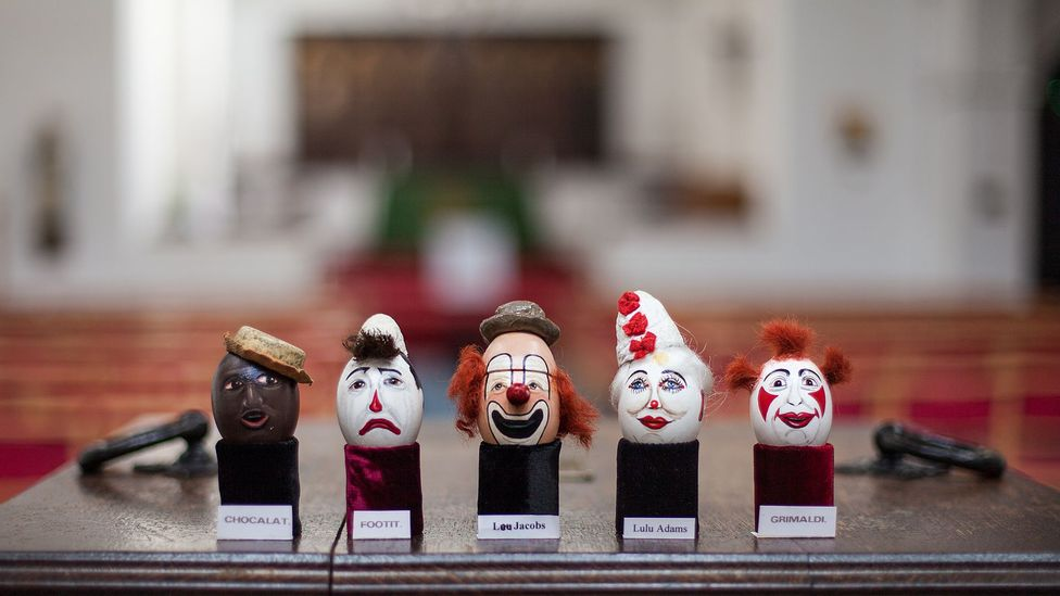 The Clown's Church in London is home to the eggs and a wide range of other clown props, costumes and more (Credit: Javier Hirschfeld)