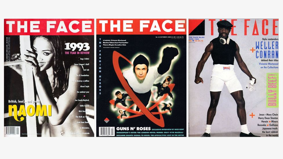 Covers of The Face magazine, l to r: supermodel Naomi Campbell; fashion superheroes photographed by Stephane Sednaoui; Buffalo fashion (Credit: Alamy/ Nick Logan/ The Archive)