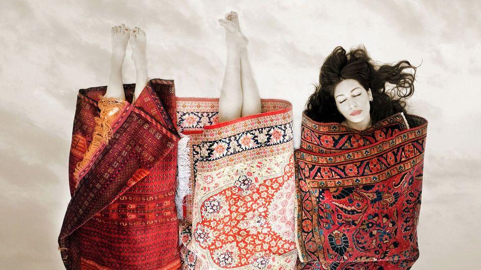 Artist Babak Kazemi's Exit of Shirin and Farhad series makes beautiful use of Persian rug imagery (Credit: Babek Kazemi)