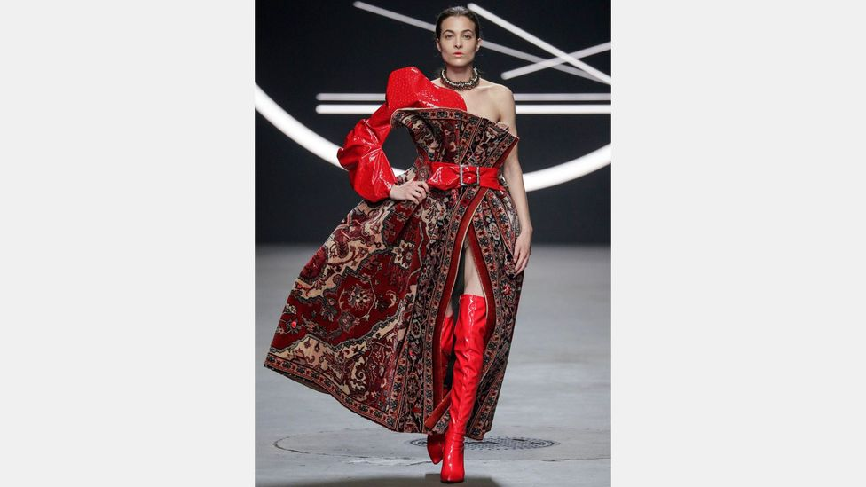 Dutch designer Marlou Breuls won the people's choice award at the 2016 Amsterdam Mercedes-Benz Fashion Week for a design composed of a Persian rug (Credit: Marlou Breuls)