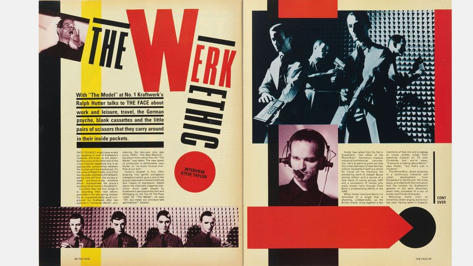 An early Face spread: art director Neville Brody's innovative typography and layouts were much imitated in the 1980s (Credit: Nick Logan/The Face Archive)