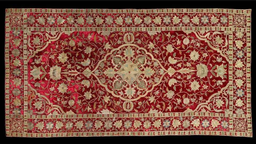 An embroidered panel from Iran, dating from the late 16th or early 17th Century (Credit: Houston Museum of Fine Arts)