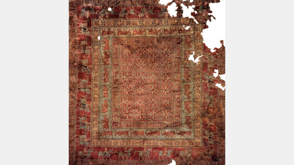 The Pazyryk Carpet, thought to be the world's oldest, dates back to the Fifth Century BC (Credit: Hermitage Museum)