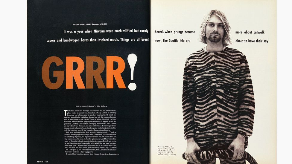 The early '90s saw a new sensibility both in the UK and the US, reflected in a Nirvana interview by Amy Raphael, with photographs by David Sims (Credit: Nick Logan/The Face)