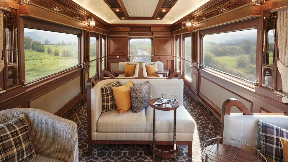 The interior of the Belmond Grand Hibernian train has been designed to echo the elegance of the old Orient Express trains, but to still look contemporary (Credit: JPA Design)