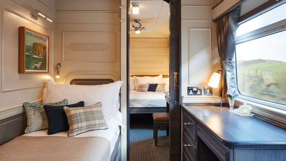 The sleeper cabins on the Belmond Grand Hibernian train, that travels throughout Ireland, are comfortable and roomy (Credit: JPA Design)