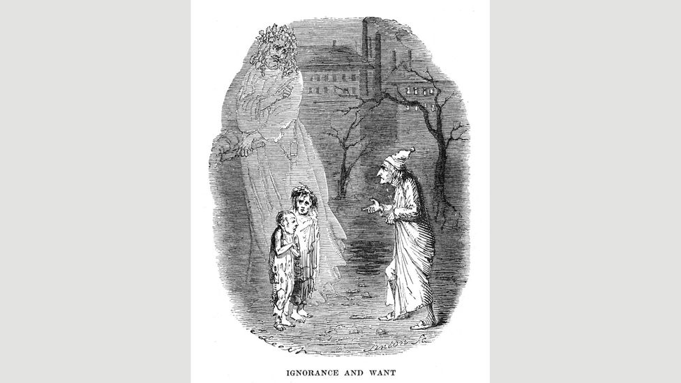"""Scrooge meets a boy named Ignorance and a girl named Want – """"Beware them both… but most of all beware this boy, for on his brow I see that written which is Doom"""" (Credit: Alamy)"""