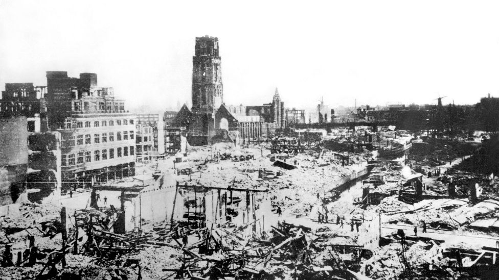 In 1940, Rotterdam was reduced to ash and rubble by German bombers (Credit: Keystone-France/Getty Images)