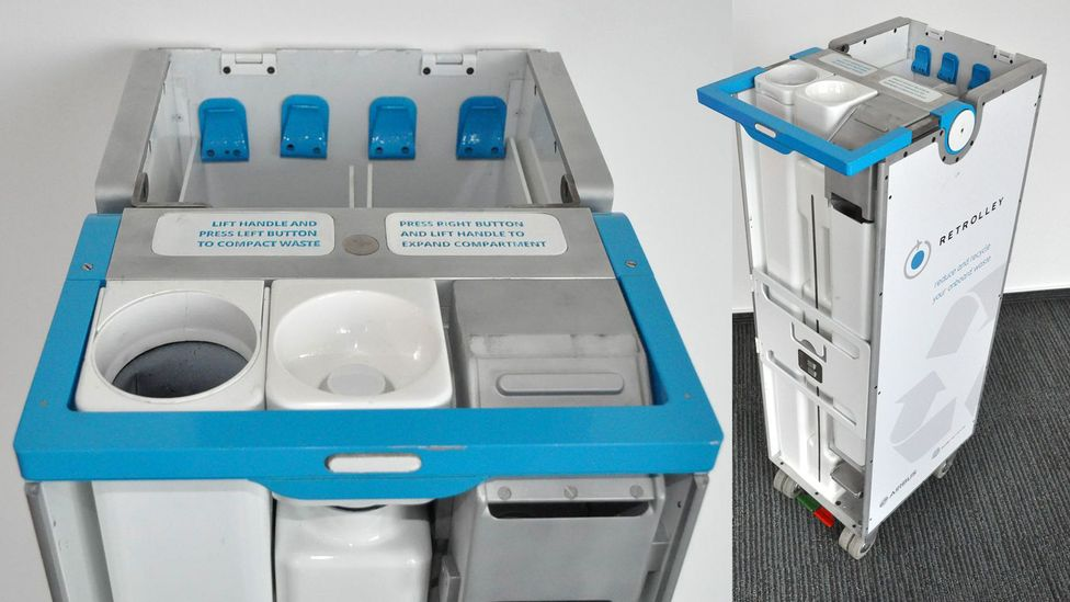 The ReTrolley reinvents the clunky cabin trolley, making it smaller and more effective: it can compress waste as it moves (Credit: Crystal Cabin Award)