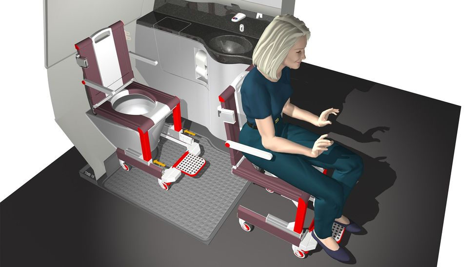 Making air travel more inclusive, researchers at Hamburg University of Applied Sciences developed a wheelchair that can fit together with a toilet (Credit: Crystal Cabin Award)