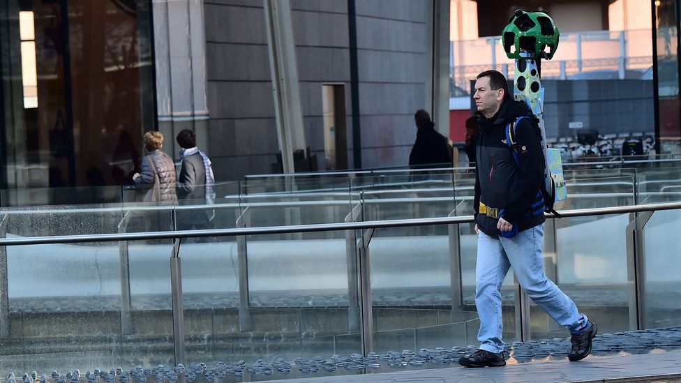 """Google also employs human """"trekkers"""" to walk around roads that cars can't reach in order to capture images for Street View (Credit: Getty Images)"""