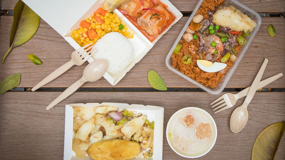 Squid sisig, seafood paella and sweet and sour pork, from Jollijeep Lirios (Credit: Jericho San Miguel)