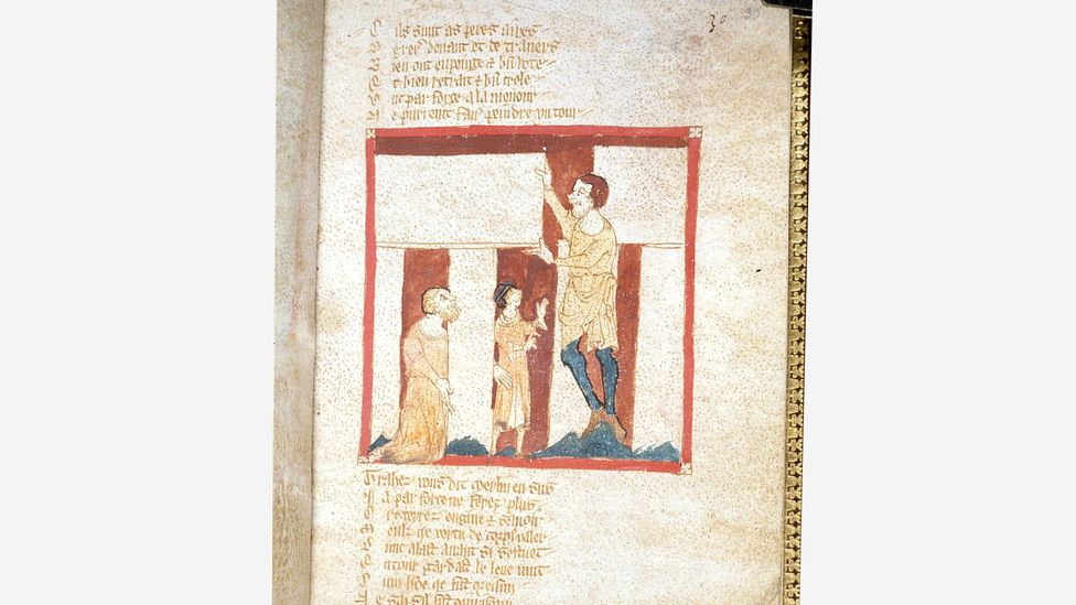 A giant helps Merlin build Stonehenge, from a 12th-Century manuscript of the Brut by Robert Wace – in Medieval Britain, ruins were associated with magic (Credit: Wikimedia)