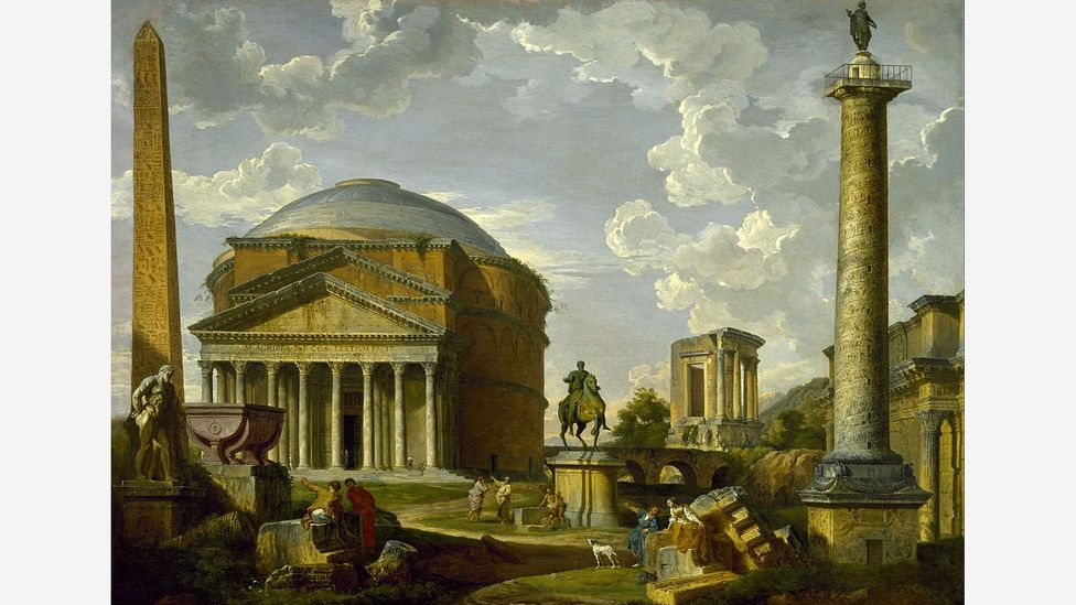 In Fantasy View with the Pantheon and Other Monuments of Ancient Rome (1737) by Giovanni Paolo Panini, ruins were rearranged for a better image (Credit: Wikimedia)