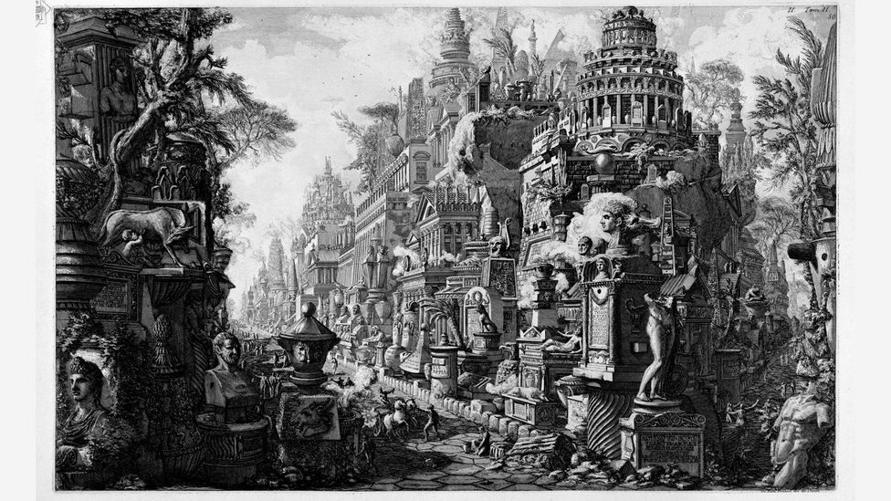 Venetian architect Giovanni Battista Piranesi printed his imaginary reconstruction of the ancient Vias Appia and Ardeatina multiple times between 1761 and 1799 (Credit: Alamy)