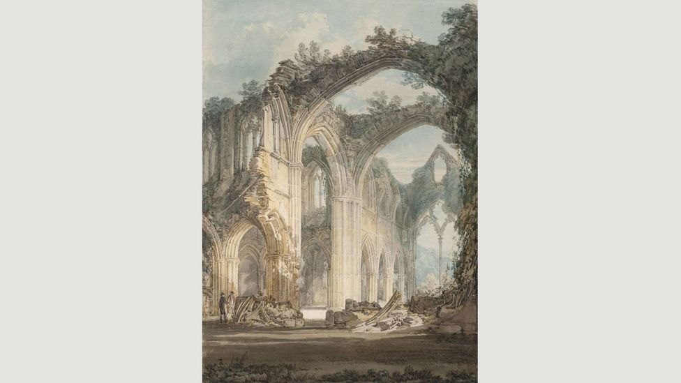 In paintings like Tintern Abbey: The Crossing and Chancel, Looking towards the East Window (1794) by JMW Turner, ruins were shown as a part of nature (Credit: Wikimedia)