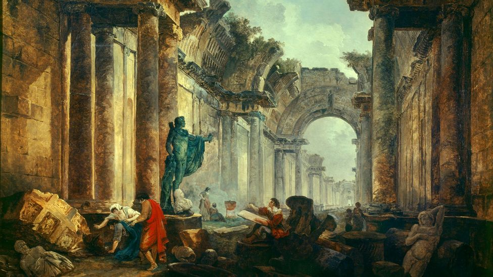 Hubert Robert was nicknamed 'Robert des Ruines' for his paintings, including Imaginary View of the Grande Galerie in the Louvre in Ruins (1796) (Credit: Alamy)