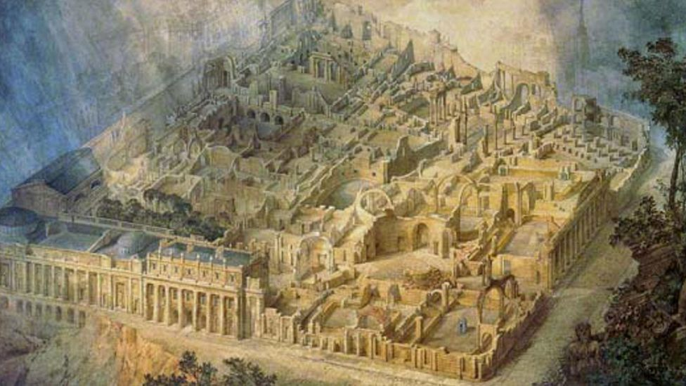 British painters also envisaged the future fall of their empire: Joseph Gandy depicted the Bank of England as a ruin (1830) (Credit: Alamy)