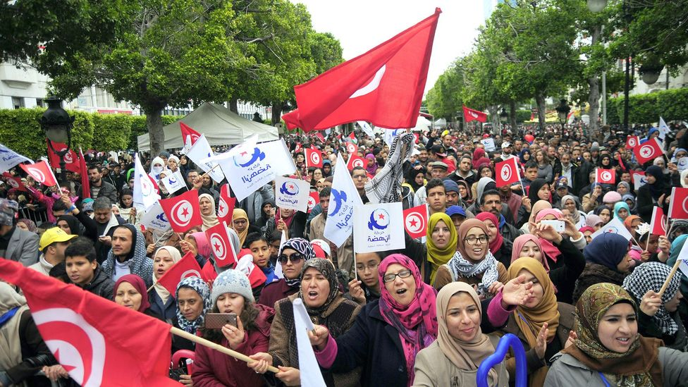 People celebrate the sixth anniversary of the Arab Spring in Tunisia; the country was the only one in the movement to move to parliamentary democracy (Credit: Alamy)