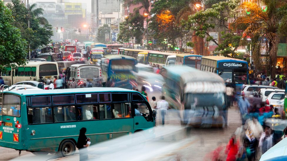 Numbeo ranks Nairobi's traffic as the second worst in the world, only better than Kolkata, India. Nairobians spend an average of 62.44 minutes in traffic. (Credit: Alamy)