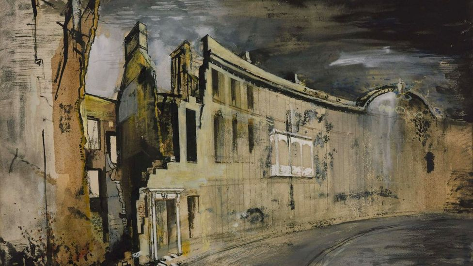 In the 20th Century, painters began to depict ruins as an expression of horror in a new age of warfare – such as Somerset Place, Bath (1942) by John Piper (Credit: Tate)