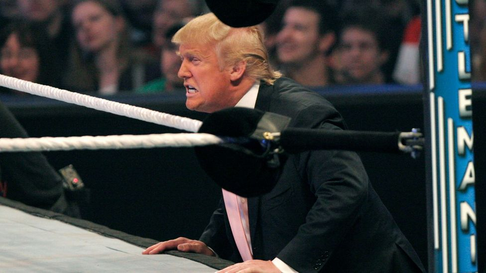 Trump's campaign mimicked the World Wrestling Federation, which had blurred the lines between sport and show business (Credit: Getty)