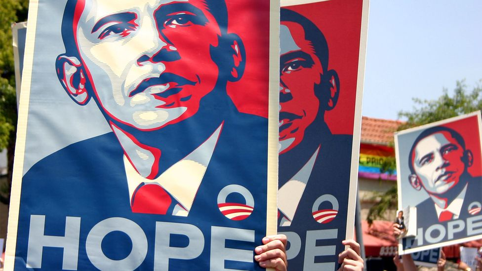 The artist Shepard Fairey created an iconic image when he rendered Obama in stencilled blocks of red, beige and blue in the famed 'Hope' poster (Credit: Alamy)