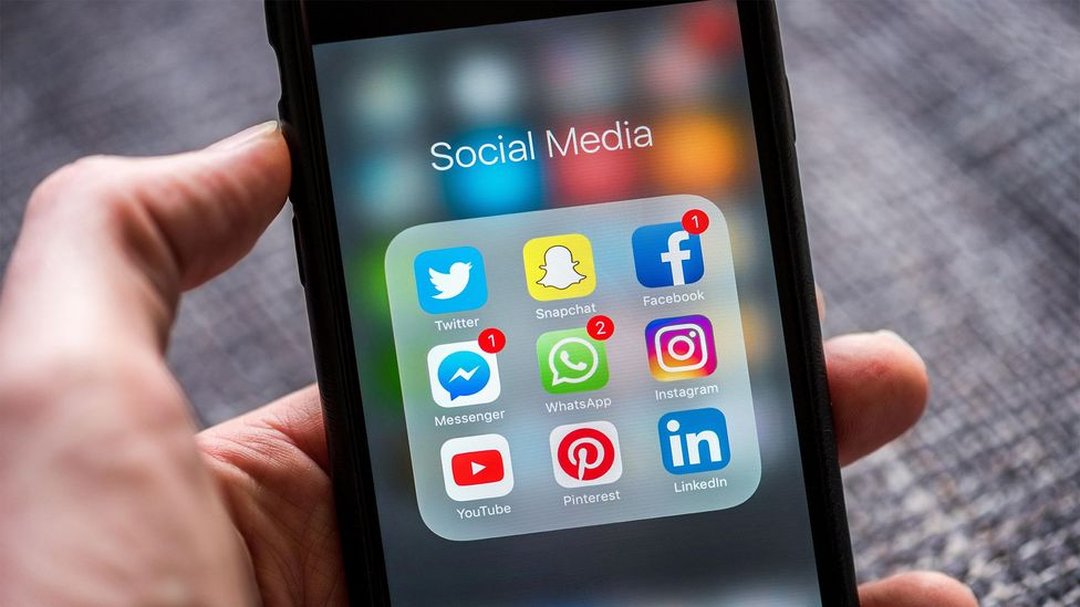 Smartphone screen showing social media (Credit: Alamy)