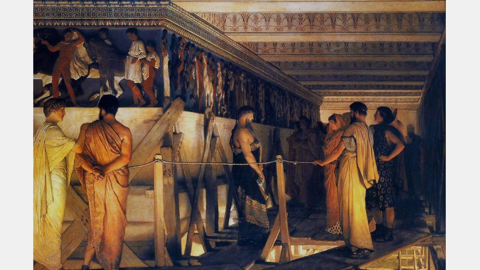 Lawrence Alma-Tadema painted Phidias Showing the Frieze of the Parthenon to his Friends, which depicted the Athenian structure as brightly painted (Credit: Alamy)