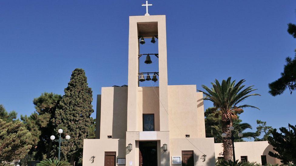 Lakki's austere and minimalist church is more Bauhaus than Mamma Mia (Credit: Alamy)