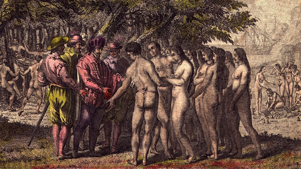 Circa 1518, Spanish Conquistador Hernando Cortés speaks with indigenous people in North America (Credit: Hulton Archive/Getty Images)