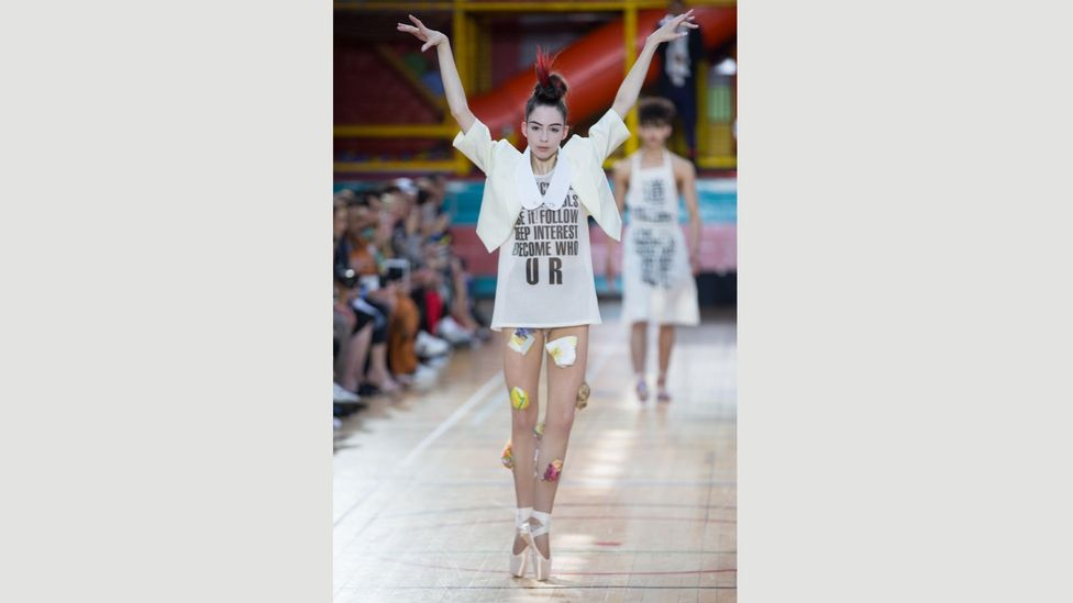 The latest collection from Westwood emblazons slogans on T-shirts – and aprons (Credit: Alamy)