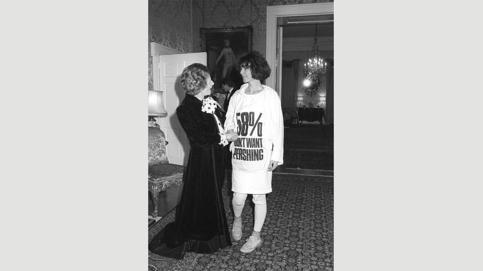 """Katharine Hamnett wore a T-shirt with an anti-nuclear message when she met Margaret Thatcher in 1984, calling it """"one of the original selfie photo-ops"""" (Credit: Press Association)"""
