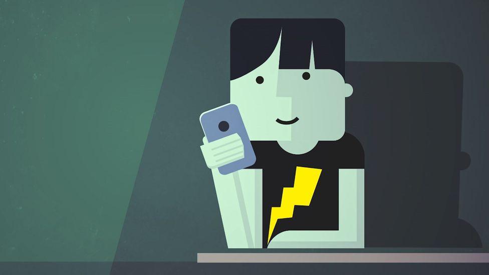 Cartoon of social media user (Credit: BBC)