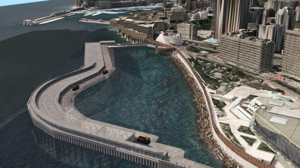 Architect rendering of the Portier Cove building site filled with water (Credit: Valode & Pistre)
