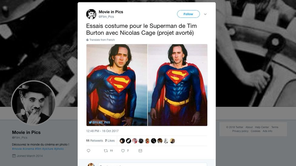 Nicolas Cage was set to star as the Man of Steel in Superman Lives and underwent test photography in costume as part of the pre-production (Credit: @Films_Pics/Twitter)
